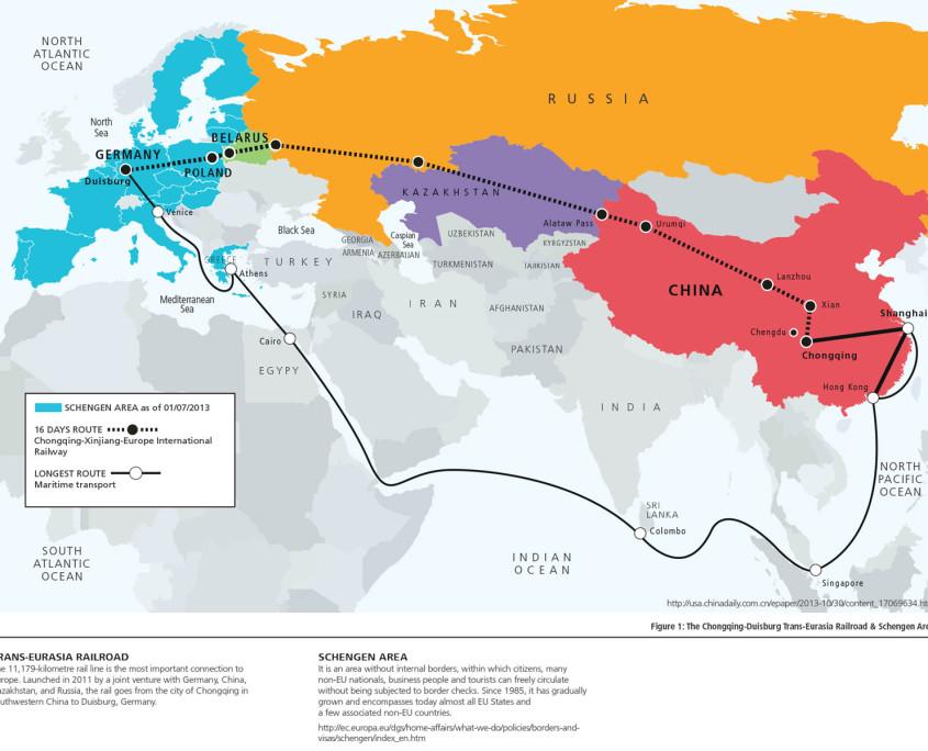 Map of Trans-Eurasia Railroad & Schengen Area